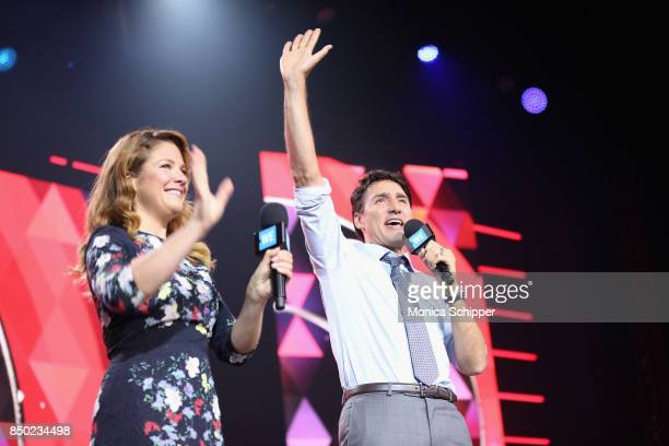 Sophie Gregoire and Canadian Prime Minister Justin Trudeau speak on stage at the WE Day UN at The Theater at Madison Square Garden on September 20...