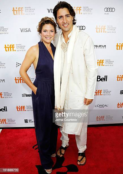 Sophie Gregoire and Justin Trudeau arrive at the Midnight's Children Premiere at the 2012 Toronto International Film Festival at Roy Thomson Hall on...