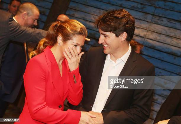Sophie Gregoire Trudeau and husband Canadian Prime Minister Justin Trudeau pose backstage at the hit musical 'Come from Away' on Broadway at The...