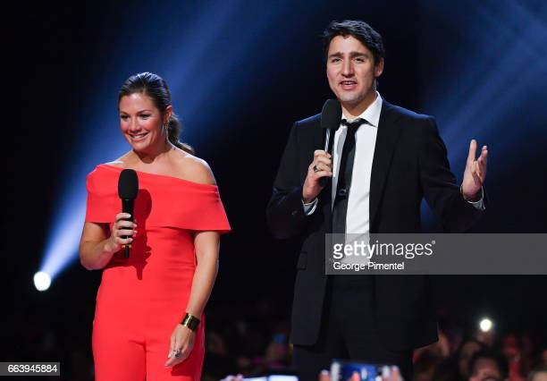 Sophie Gregoire Trudeau and Prime Minister of Canada Justin Trudeau speak at the 2017 Juno Awards at Canadian Tire Centre on April 2 2017 in Ottawa...