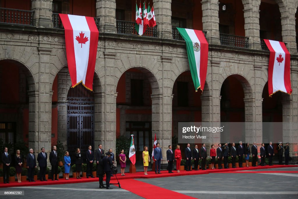 Sophie GrŽegoire Trudeau, Canadian Prime Minister Justin Trudeau, Enrique Peña Nieto President of Mexico and Mexican First Lady Angelica Rivera pose during a meeting as part of the official visit of Canadian Prime Minister Justin Trudeau to Mexico City at Palacio Nacional on October 12, 2017 in Mexico City, Mexico.