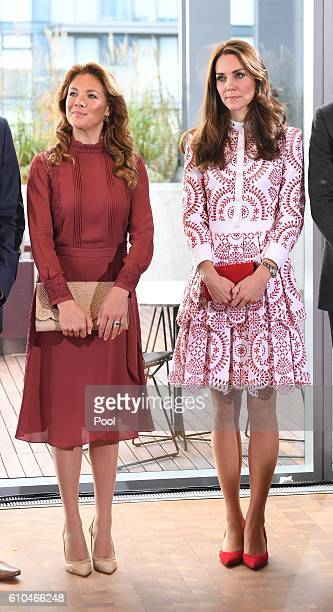 Sophie Gregoire Trudeau wife of Canadian Prime Minister Justin Trudeau and Catherine Duchess of Cambridge attend the Young Canadians reception and...