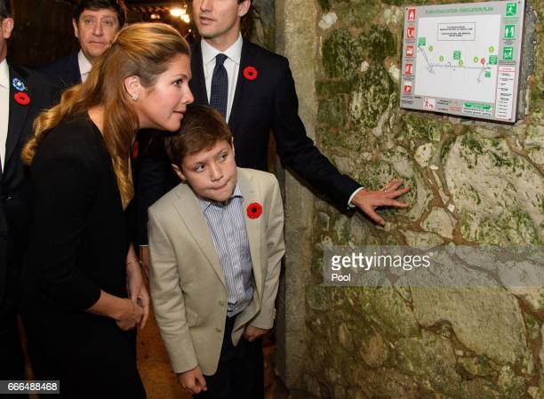 Sophie Gregoire Trudeau wife of Canadian Prime Minister Justin Trudeau and their son Xavier as they visit the tunnel and trenches at Vimy Memorial...