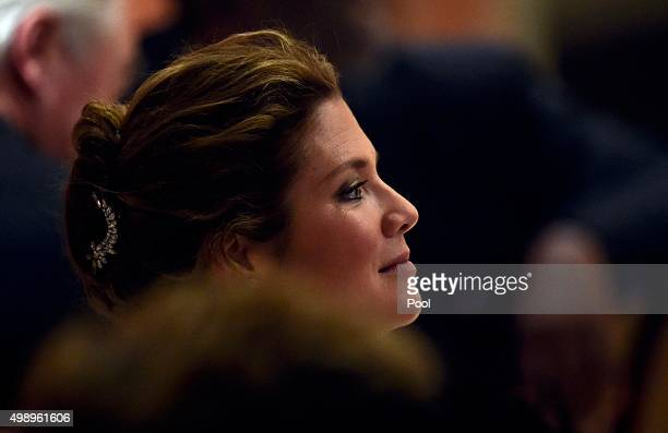 Sophie Gregoire wife of Canadian Prime Minister Justin Trudeau listens to speeches during a dinner at the Corinthia Palace Hotel in Attard during the...