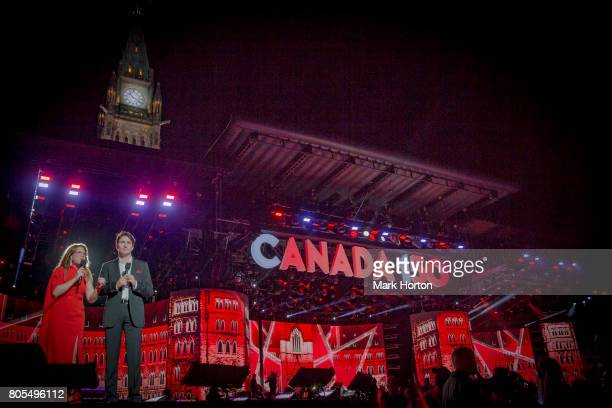 Sophie Grgoire Trudeau and Prime Minister of Canada Justin Trudeau deliver remarks during Canada Day celebrations at Parliament Hill on July 1 2017...