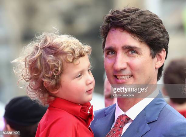 Sophie Grégoire Trudeau, Justin Trudeau and Hadrien Trudeau watch Canada Day Canada Day celebrations on Parliament Hill during a 3 day official visit...