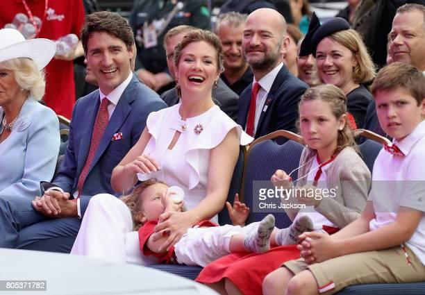 Sophie Grégoire Trudeau, Justin Trudeau, Hadrien Trudeau, Ella-Grace Trudeau and Xavier Trudeau watch Canada Day Canada Day celebrations on...