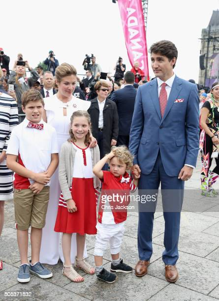Sophie Grégoire Trudeau, Justin Trudeau, Hadrien Trudeau, Ella-Grace Trudeau and Xavier Trudeau arrive for Canada Day Canada Day celebrations on...