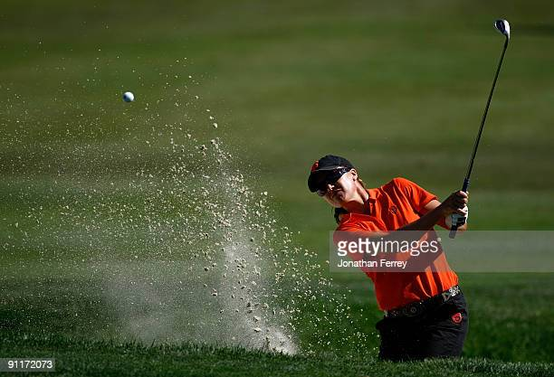 Sophie Gustafson of Sweden hits out of the bunker on the 3rd hole during the third round of the CVS/pharmacy LPGA Challenge at Blackhawk Country Club...