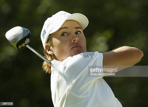 Sophie Gustafsson of Sweden hits a drive during her course record setting third round of the Ladies European Tour HP Open at Drottningholm GC outside...
