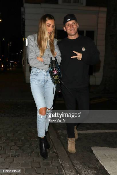 Sophie Habboo and Jamie Laing seen attending Lottie Moss's Birthday party at Bluebird in Chelsea on January 09 2020 in London England