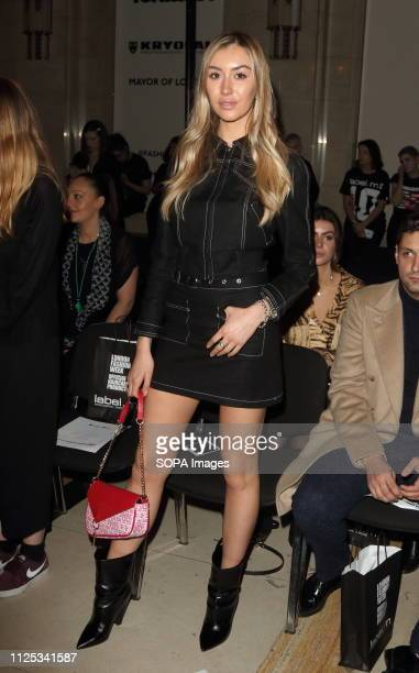 Sophie Habboo in the Front row at the Rocky Star Catwalk Show Autumn Winter 2019 at offschedule London Fashion Week show at the Freemasons Hall