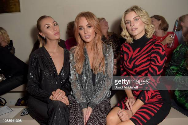 Sophie Habboo Nicola Hughes and Ashley James attend the Julien Macdonald SS19 Show Front Row on September 15 2018 in London England