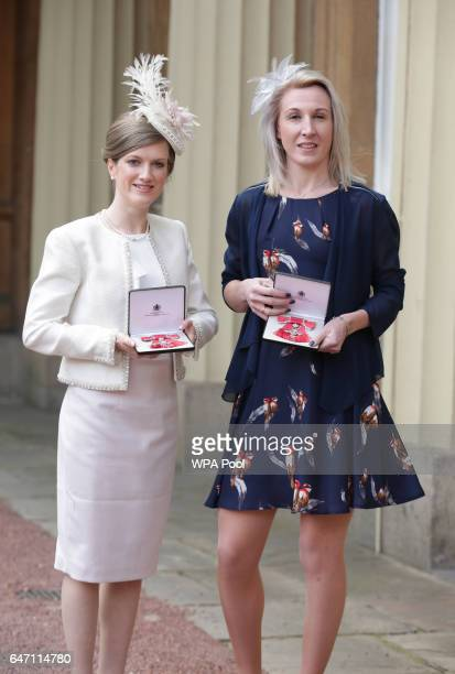 Sophie Hahn and Georgina Hermitage at Buckingham Palace in London after receiving their Member of the Order of the British Empire medals from the...