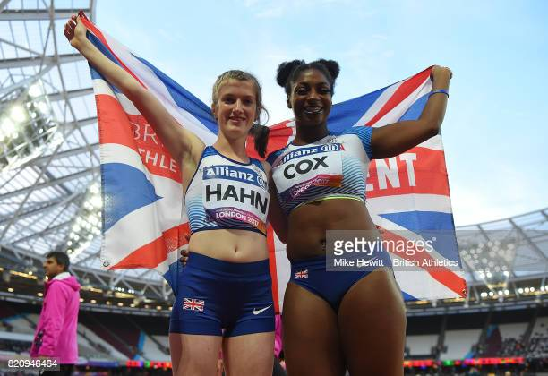 Sophie Hahn and Kadeena Cox of Great Britain celebrate after winning gold and silver in the final of the womens 100m T38 final on day nine of the IPC...