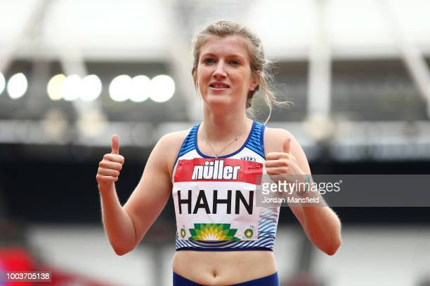 Sophie Hahn of Great Britain celebrates victory after setting the World Record following the Women's T37/38 200m during Day Two of the Muller...