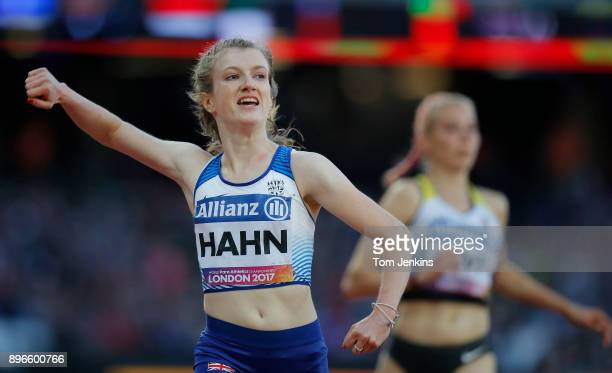 Sophie Hahn of Great Britain celebrates winning gold in a world record time in the women's 100m T38 final during the World Para Athletics...