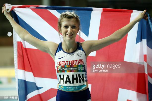 Sophie Hahn of Great Britain celebrates winning the Women's 100m T38 final during Day Six of the IPC World Para Athletics Championships 2019 Dubai on...