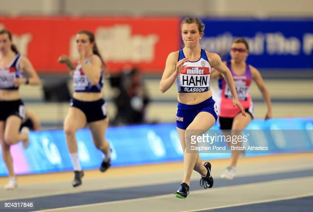 Sophie Hahn of Great Britain competes in the womens 60m T3738 final during the Muller Indoor Grand Prix event on the IAAF World Indoor Tour at the...