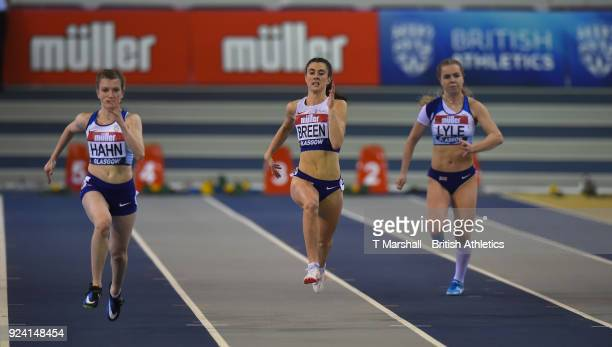 Sophie Hahn of Great Britain Olivia Breen of Great Britai and Maria Lyle of Great Britain compete in theWomen's 60m T3738 Final during the Muller...