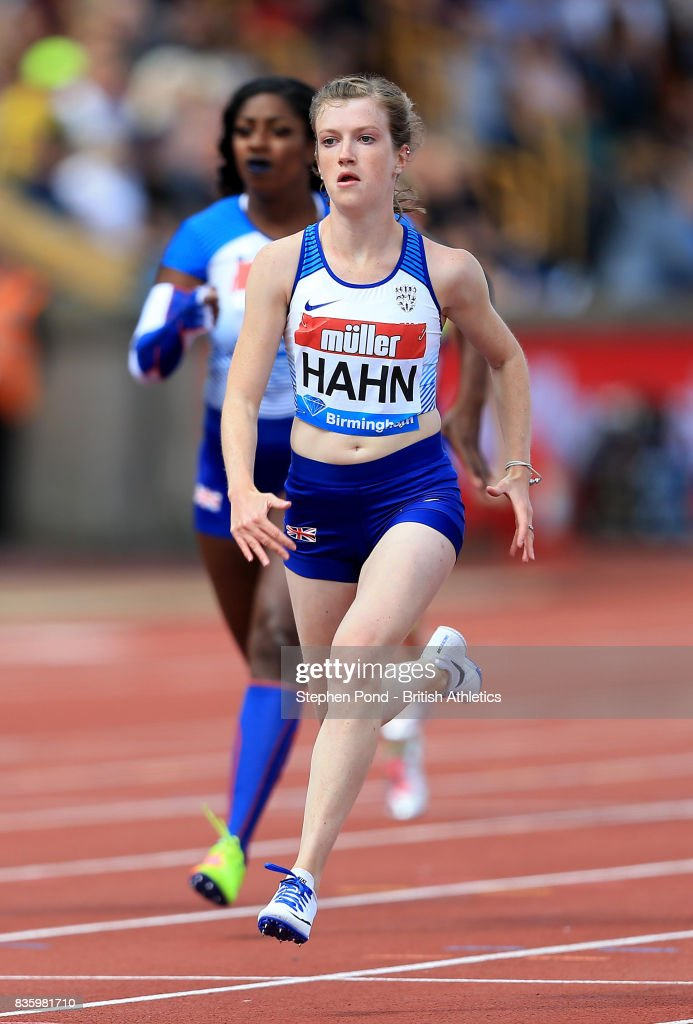 Sophie Hahn of Great Britain wins the women's T37/38 100m during the Muller Grand Prix and IAAF Diamond League event at Alexander Stadium on August 20, 2017 in Birmingham, England.