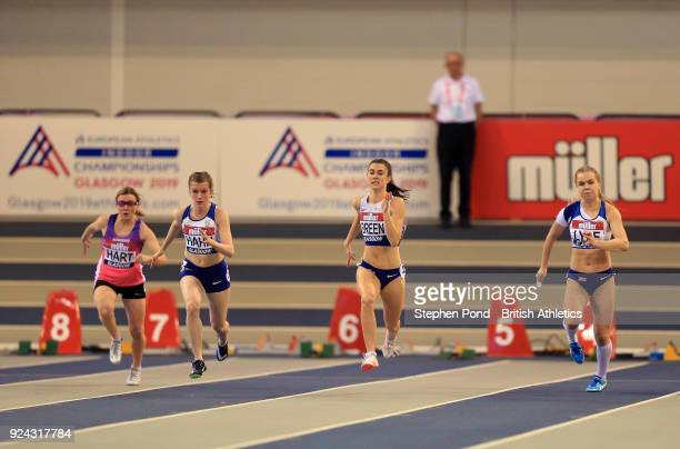 Sophie Hahn Olivia Breen and Maria Lyle of Great Britain compete in the womens 60m T3738 final during the Muller Indoor Grand Prix event on the IAAF...