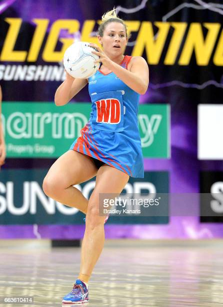 Sophie Halpin of the Waratahs in action during the round seven Australian Netball League match between the Storm and the Waratahs at University of...