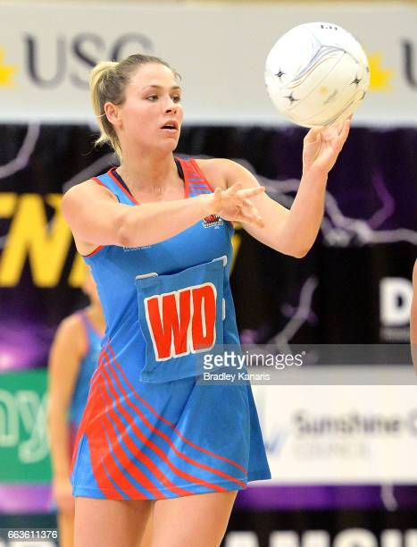 Sophie Halpin of the Waratahs passes the ball during the round seven Australian Netball League match between the Storm and the Waratahs at University...