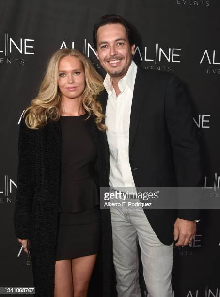 Sophie Haouala and Hakim Haouala attend a Hollywood Hills Soiree Curated By Bespoke Event Company, Aline Events on September 17, 2021 in Los Angeles,...