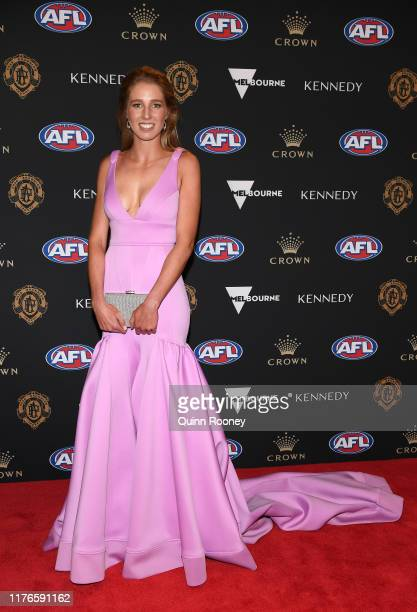 Sophie Harmer arrives ahead of the 2019 Brownlow Medal at Crown Palladium on September 23 2019 in Melbourne Australia