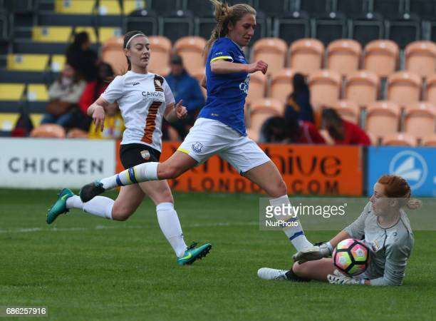 Sophie Harris of London Bees great save from Aillen Whelan of Everton Ladies during Women's Super League 2 Spring Series match between London Bees...