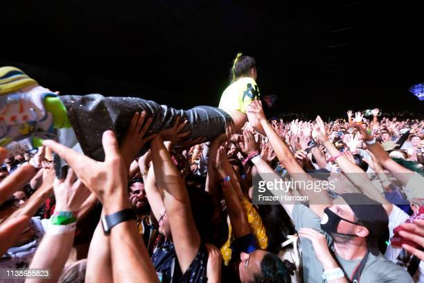 Sophie HawleyWeld of SOFI TUKKER crowd surfs at Mojave Tent during the 2019 Coachella Valley Music And Arts Festival on April 21 2019 in Indio...
