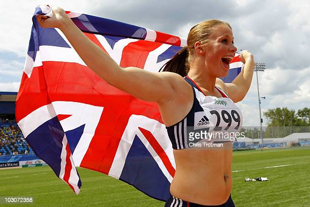 Sophie Hitchon of Great Britain celebrates finishing first in the Women's Hammer Throw event on day six of the 13th IAAF World Junior Championships...