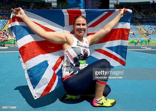 Sophie Hitchon of Great Britain celebrates placing third in the Women's Hammer Throw final on Day 10 of the Rio 2016 Olympic Games at the Olympic...
