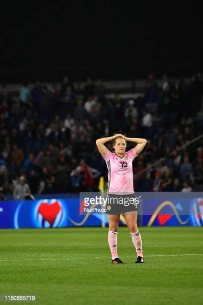 Sophie Howard in shocked at the End off the Group D game 3 between Scotland and Argentina at the FIFA Women's World Cup in France at Parc des Princes...