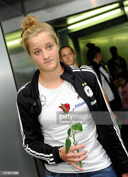 Sophie Howard looks on during the Germany Women's National U20 Football Team arrival at airport Rhein Main on September 9 2012 in Frankfurt am Main...