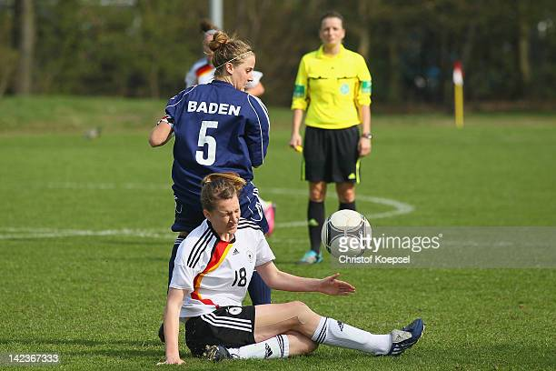 Sophie Howard of Baden challenges Doerthe Hoppius of Germany U16 during the match between germany U16 and Baden during the Women's U19 Federal State...