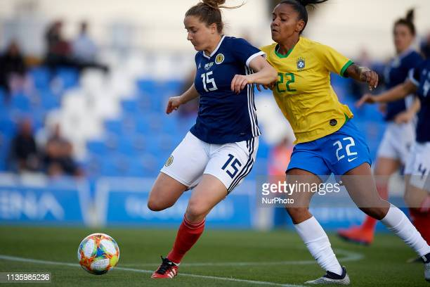 Sophie Howard of Scotland and Geyse Ferreira of Brazil competes for the ball during the international friendly match between Brazil W and Scotland W...