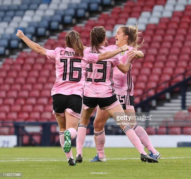 Sophie Howard of Scotland celebrates after she scores her team's third goal during the Women's International Friendly match between Scotland and...