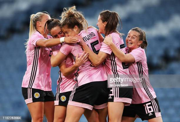Sophie Howard of Scotland celebrates with team mates after scoring the winning goal during the Women's International Friendly match between Scotland...