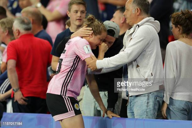 Sophie Howard of Scotland is consoled following the 2019 FIFA Women's World Cup France group D match between Scotland and Argentina at Parc des...