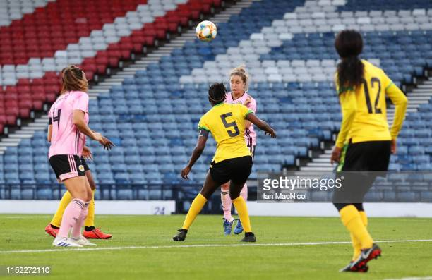 Sophie Howard of Scotland scores her team's third goal during the Women's International Friendly match between Scotland and Jamaica at Hampden Park...