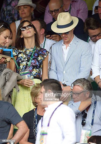 Sophie Hunter and Benedict Cumberbatch attend day eleven of the Wimbledon Tennis Championships at Wimbledon on July 10 2015 in London England