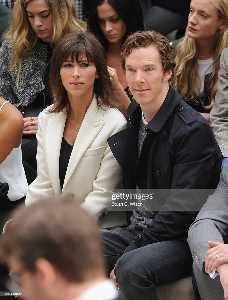 Sophie Hunter and Benedict Cumberbatch attend the Burberry Womenswear Spring/Summer 2016 show during London Fashion Week at Kensington Gardens on September 21, 2015 in London, England.