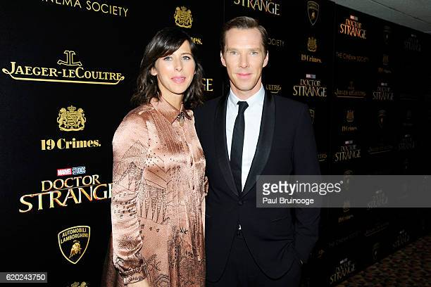 Sophie Hunter and Benedict Cumberbatch attend the Lamborghini with The Cinema Society JaegerLeCoultre 19 Crimes Wines Host a Screening of Marvel...