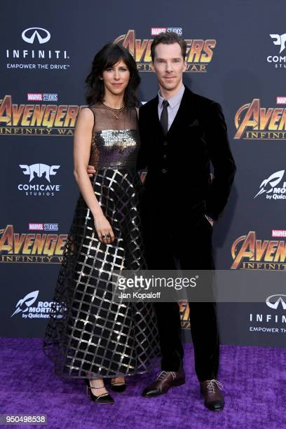 Sophie Hunter and Benedict Cumberbatch attend the premiere of Disney and Marvel's 'Avengers: Infinity War' on April 23, 2018 in Los Angeles,...
