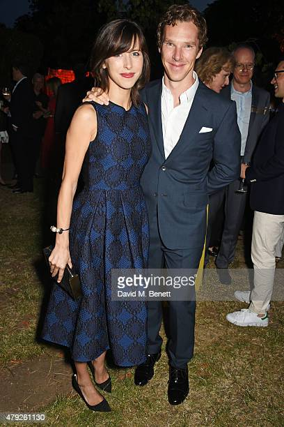 Sophie Hunter and Benedict Cumberbatch attend The Serpentine Gallery summer party at The Serpentine Gallery on July 2 2015 in London England