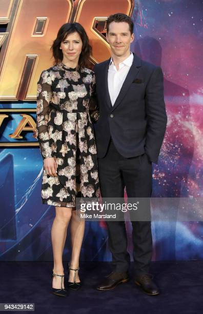 Sophie Hunter and Benedict Cumberbatch attend the UK Fan Event for 'Avengers Infinity War' at Television Studios White City on April 8 2018 in London...
