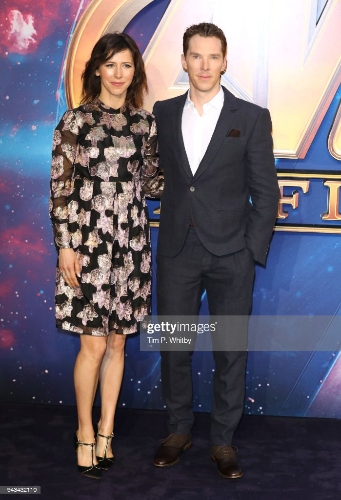 Sophie Hunter and Benedict Cumberbatch attend the UK Fan Event for 'Avengers Infinity War' at Television Studios White City on April 8, 2018 in London, England.