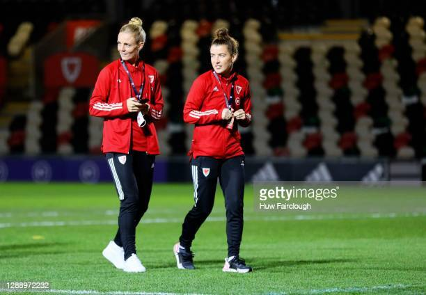 Sophie Ingle and Angharad James inspects the stadium ahead of the UEFA Women's EURO 2022 Qualifier between Wales Women and Belarus Women at Rodney...
